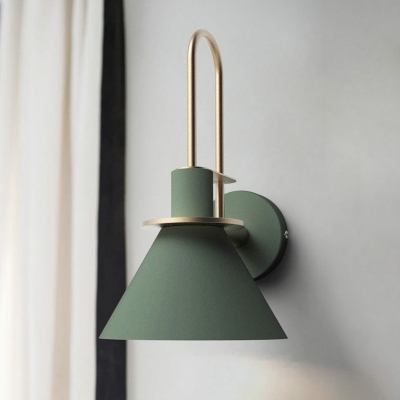 Conical Bathroom Sconce Lighting Industrial Iron 1-Head Black/White/Green Finish Handle Wall Mount Lamp