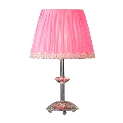 Conical Desk Light Modernism Fabric 1 Head Pink Night Table Lamp with Crystal Base