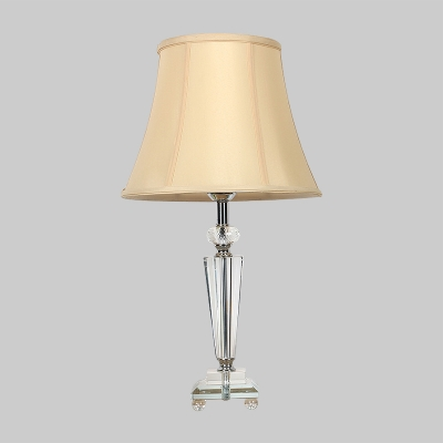 Contemporary 1 Head Reading Light Beige Trumpet Night Table Lamp with Fabric Shade