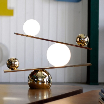 Contemporary 2 Heads Table Light Gold Sphere Small Desk Lamp with Milky Glass Shade