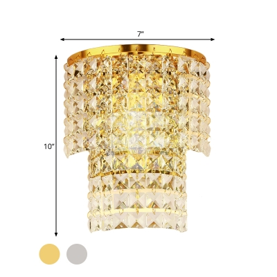 Contemporary Drum Wall Light Clear Crystal Chrome/Gold LED Sconce Light for Hotel Stair Hallway
