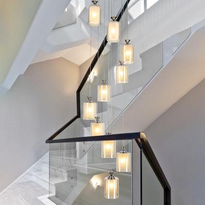 Cylinder/Globe Multi Light Pendant Modernism Amber Glass 10 Bulbs Silver LED Ceiling Lamp for Stair