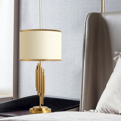 Cylindrical Table Light Contemporary Fabric 12