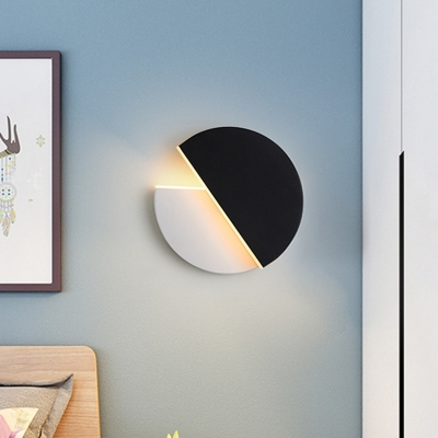Double Semicircle Metal Sconce Light Modern Black and White LED Wall Lamp Fixture