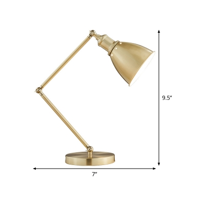 Gold Wide Flare Reading Light Modern 1 Bulb Metal Nightstand Lamp for Living Room