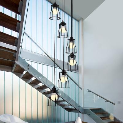 Industrial Cage Suspension Lighting Metal 6 Bulbs Living Room Multi Light Pendant in Black