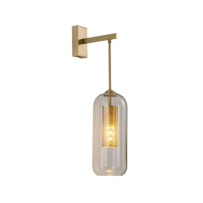 Minimalist Capsule Sconce Light Fixture Clear Glass 1-Light Bedside Wall-Mount Lamp in Gold