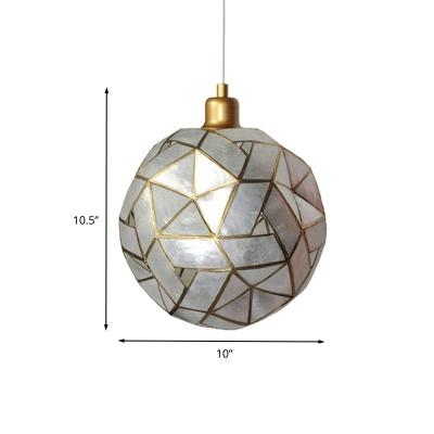 Silver Sldined Ball Hanging Lighting Modern 1 Head Shell Pendant Ceiling Lamp for Restaurant