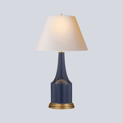 Wide Flare Task Lamp Modern Fabric 1 Bulb Reading Book Light in Blue with Ceramic Base