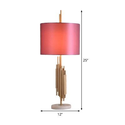 1 Bulb Cylinder Desk Lamp Modern Fabric Reading Book Light in Pink with Marble Base