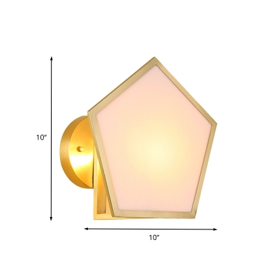1 Light Bedside Sconce Postmodern Brass Wall Lamp Fixture with Pentagon Acrylic Shade