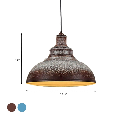 1 Light Down Lighting Vintage Barn Shade Metal Pulley Ceiling Pendant Lamp in Blue/Rust for Dining Room