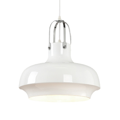 1 Light Suspension Light Industrial Dining Room Hanging Lamp with Urn Metallic Shade in White/Black, 10
