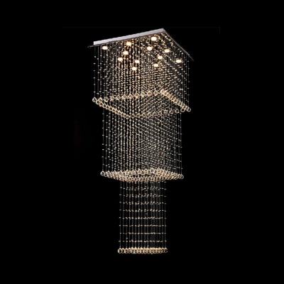 13 Lights Stair Multi Light Pendant Minimalism Silver LED Drop Lamp with Square Beveled Crystal Shade