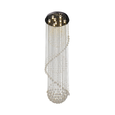 9 Bulbs Stair Cluster Pendant Contemporary Black LED Ceiling Light with Ball Faceted Crystal Shade
