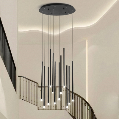 Acrylic Linear Cluster Pendant Light Modern 8/12 Heads Black/Gold LED Ceiling Lamp for Stair