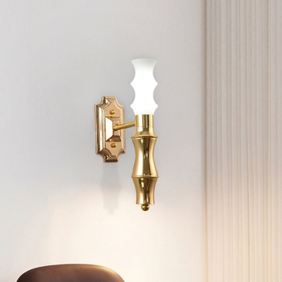 Bamboo Shape Wall Sconce Modern Metallic 1-Light Brass Wall Mount Light Fixture for Living Room