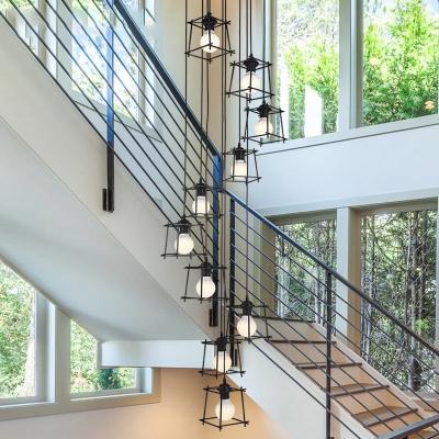 Black Trapezoid Cluster Pendant Light Minimalist 10 Heads Metal Ceiling Suspension Lamp