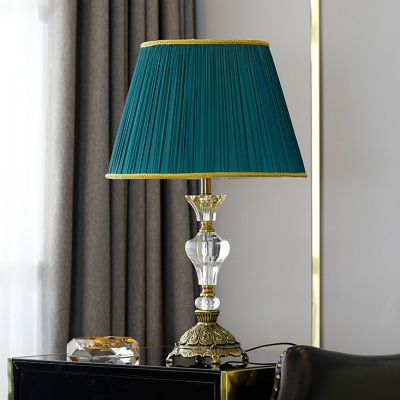 Contemporary 1 Head Nightstand Lamp Gold Flare Reading Book Light with Fabric Shade