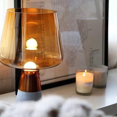 Cup Desk Light Modernism Smoke/Amber Glass 8