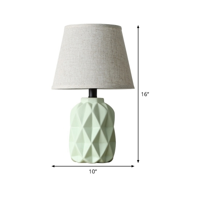 Green Conical Desk Light Modernist 1 Head Fabric Nightstand Lamp with Ceramic Base