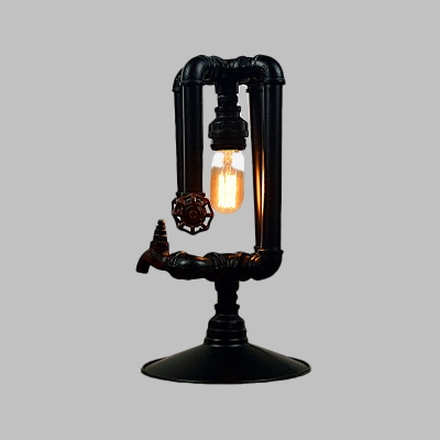 Metal Crossing Pipe Table Light Antiqued 1 Head Living Room Plug In Nightstand Lamp in Black with Faucet Deco