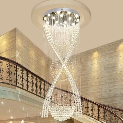 Modern X-Shaped Suspension Lighting Clear K9 Crystal 15 Bulbs Living Room LED Multi Light Pendant in Silver