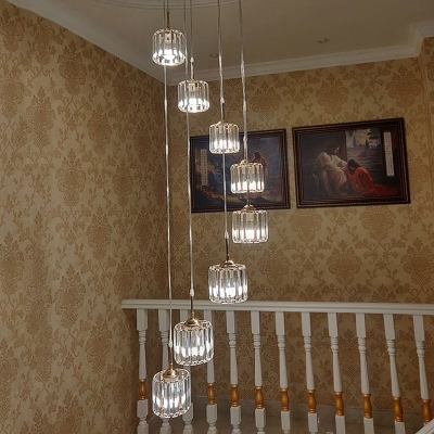 Round Clear Crystal Cluster Pendant Contemporary 8 Bulbs Gold Hanging Ceiling Light for Stair