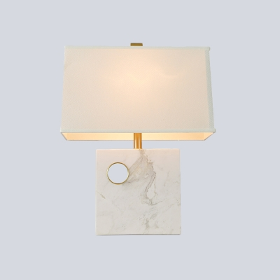 Trapezoid Fabric Task Light Modern 1 Head White Desk Lamp with Square Marble Base
