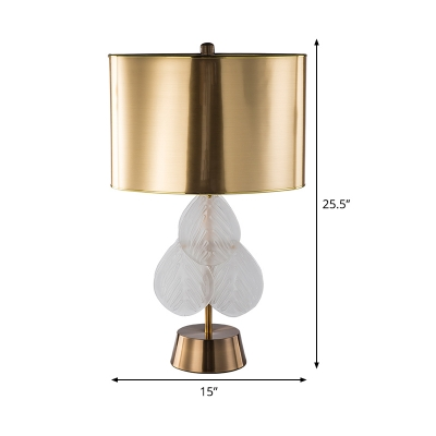 1 Head Dining Room Desk Light Modern Gold Table Lamp with Cylindrical Metal Shade