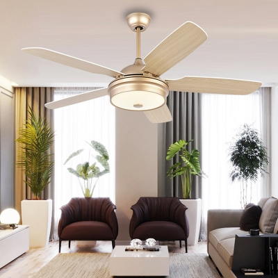52 W Gold Led Ceiling Fan Light Fixture Contemporary Metal Drum 5 Blade Semi Flush Mounted Lamp For Living Room Beautifulhalo Com