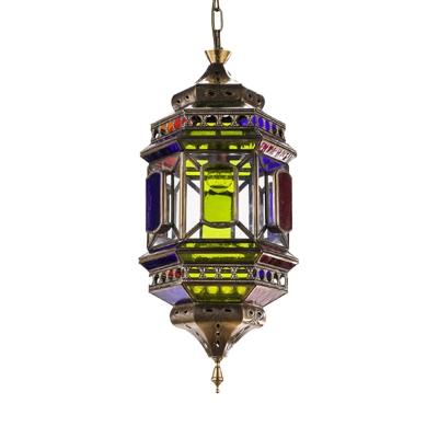Arabian Lantern Chandelier Pendant Light 3 Lights Metal Ceiling Suspension Lamp in Brass