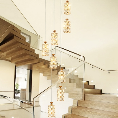 Brass Cylindrical Cluster Pendant Light Minimalist 8 Lights Clear K9 Crystal Suspension Lamp