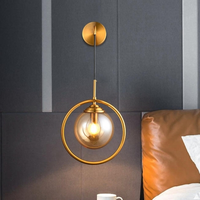 Brass Ring Wall Lighting Minimalist 1 Bulb Metal Sconce with Sphere Amber Glass Shade for Bedside