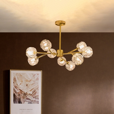 Contemporary Branch Hanging Lighting Metal 9 Lights Dining Room Chandelier Lamp in Brass with Orb Crystal Shade