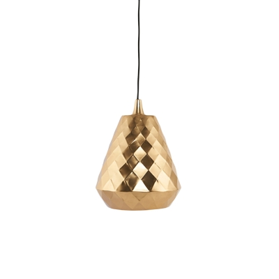 Gold Finish Teardrop Pendant Modern 1 Head Iron Ceiling Hang Fixture with Pinecone Design