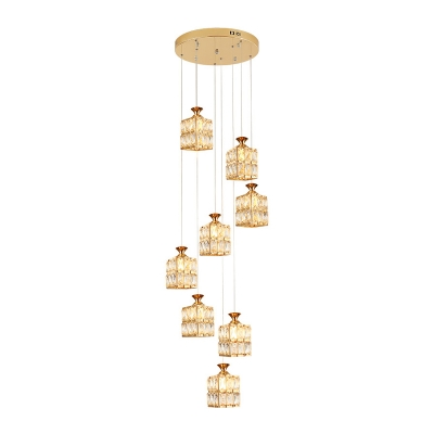 Modern 8 Heads Suspension Lighting Gold Rectangle Multi Light Pendant with Beveled Crystal Shade