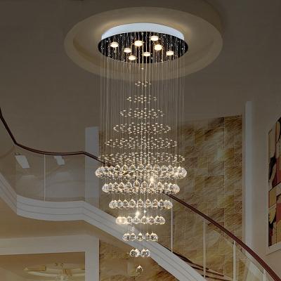 Silver Round Multi Light Pendant Modernist 8 Bulbs K9 Crystal LED Down Lighting for Stair