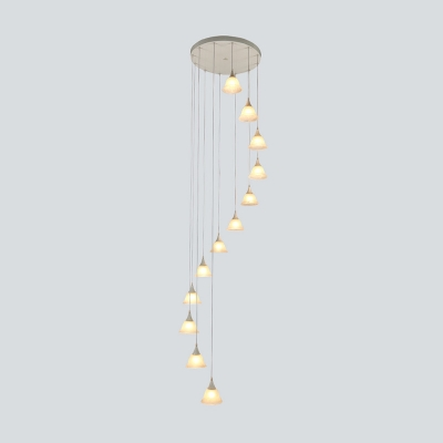 Simple Bell White Glass Cluster Pendant 12 Heads LED Suspended Lighting Fixture for Stair