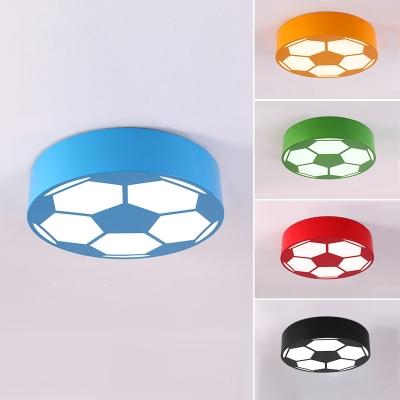 Sport Theme Football Flushmount Black Acrylic LED Ceiling Fixture for Boys Bedroom
