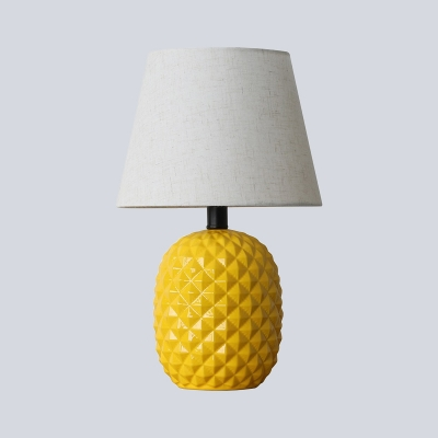 1 Head Bedroom Task Light Modern Yellow Night Table Lamp with Flare Fabric Shade
