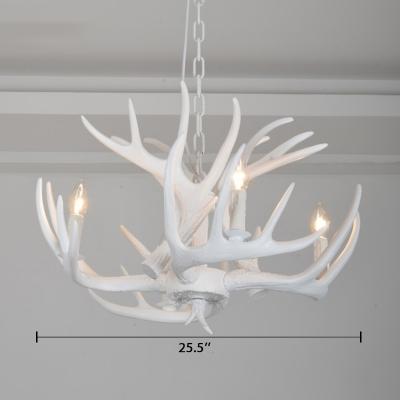 4 Light Antler Hanging Light Lodge Designers Style White Resin Suspension Light for Living Room