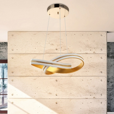 Acrylic Twisting Chandelier Light Contemporary LED Gold Ceiling Pendant Lamp in Warm/White Light
