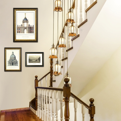 Brass Scalloped Hanging Ceiling Light Colonial 8 Heads White Glass Cluster Pendant for Stair