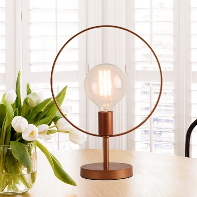Circle Desk Lamp Modernist Metal 1 Bulb Reading Book Light in Burgundy for Study