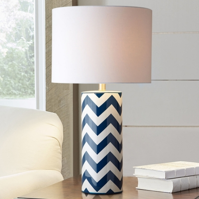 Cylinder Desk Light Modernism Fabric 1 Bulb Nightstand Lamp in White with Ceramic Base