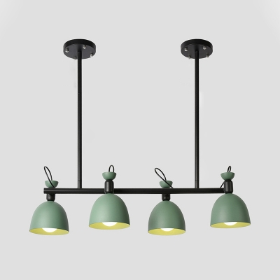 Green Dome Ceiling Chandelier Contemporary 4-Bulb Metallic Hanging Pendant Lamp with Adjustable Node