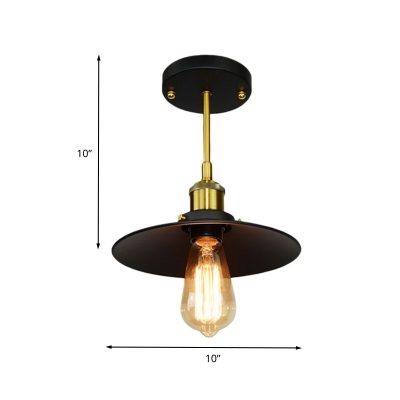 Industrial Wide Flared Flushmount Lighting 1 Head Metal Semi Close to Ceiling Lamp in Black and Brass