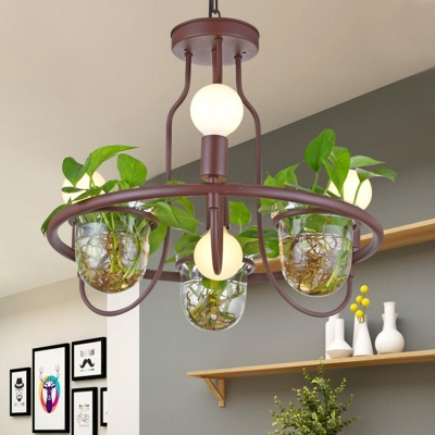 Round Living Room Chandelier Lighting Industrial Metal 4/7/10 Heads Coffee Hanging Light with Plant Decoration