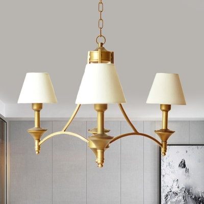 Tapered Shade Suspension Light 3 Lights Traditional Metal Chandelier in Gray Blue/Green/Off-White for Bedroom